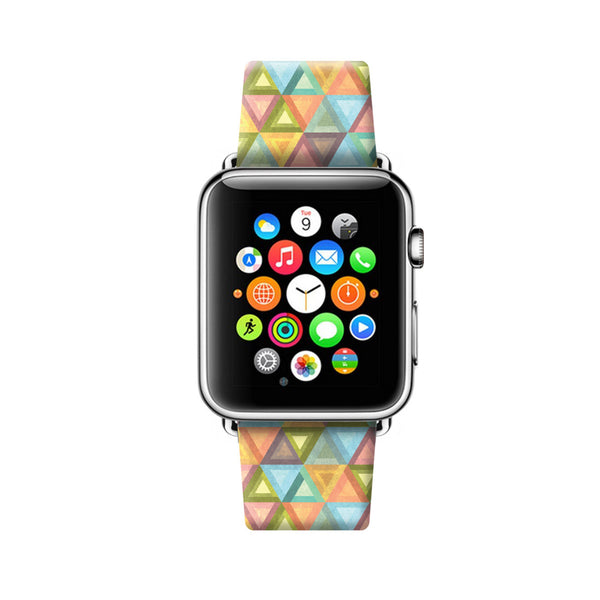 Custom Apple Watch Strap Colorful Geometric pattern  38mm / 40mm  , 42mm / 44mm