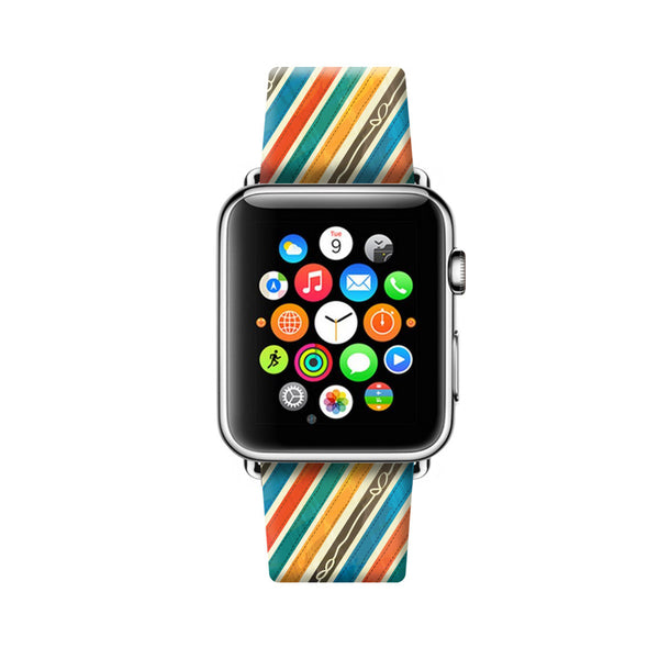 Custom Apple Watch Strap Colorful Ribbons pattern  38mm / 40mm  , 42mm / 44mm