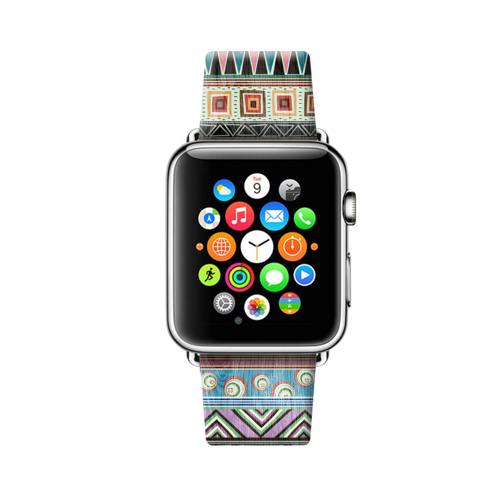 Custom Apple Watch Strap Colorful Tribal pattern 38 mm 42 mm