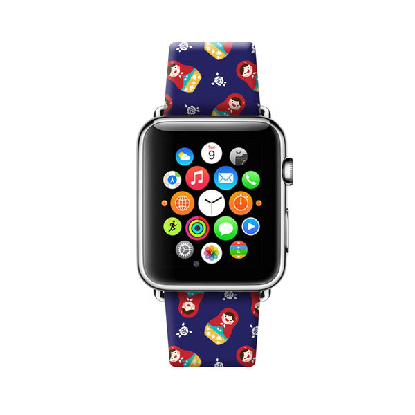 Custom Apple Watch Strap Matryoshka Pattern Blue 38 mm 42 mm