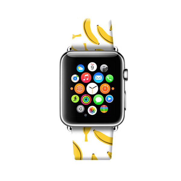 Custom Apple Watch Strap Banana White pattern  38mm / 40mm  , 42mm / 44mm