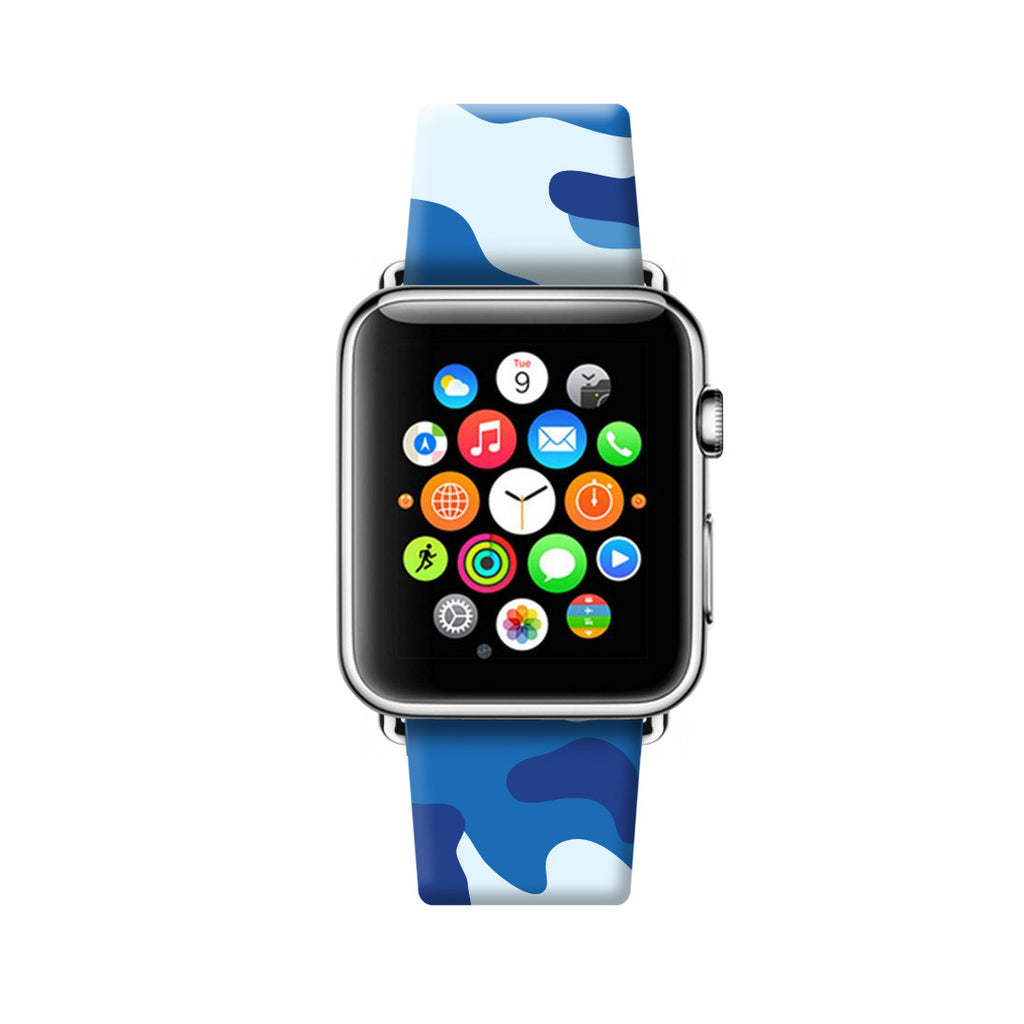 Custom Apple Watch Strap Camouflage Blue pattern 38 mm 42 mm
