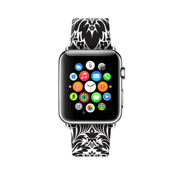 Custom Apple Watch Strap Floral Damask Black White Pattern  38mm / 40mm  , 42mm / 44mm