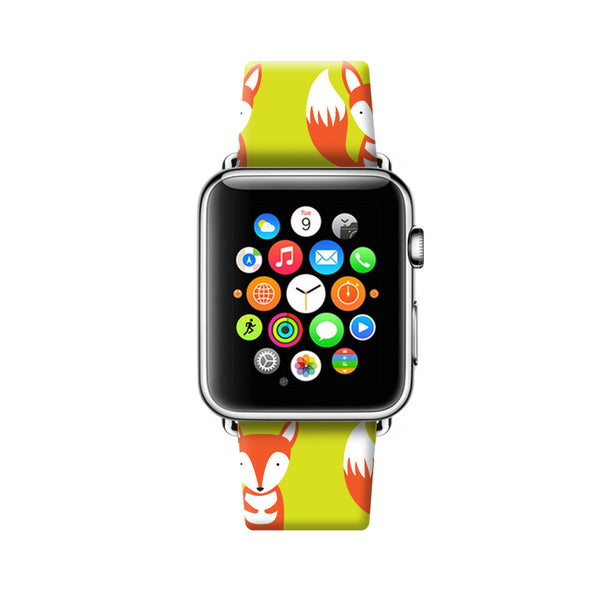 Custom Apple Watch Strap Cute Fox pattern  38mm / 40mm  , 42mm / 44mm