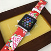 Custom Apple Watch Strap Red Vintage Floral Pattern  38mm / 40mm  , 42mm / 44mm