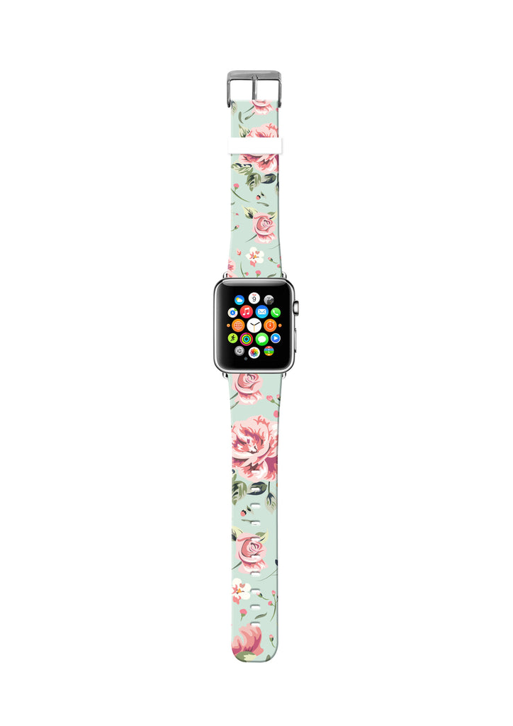 Cyan Rose Floral on Genuine Leather Strap Band for Apple