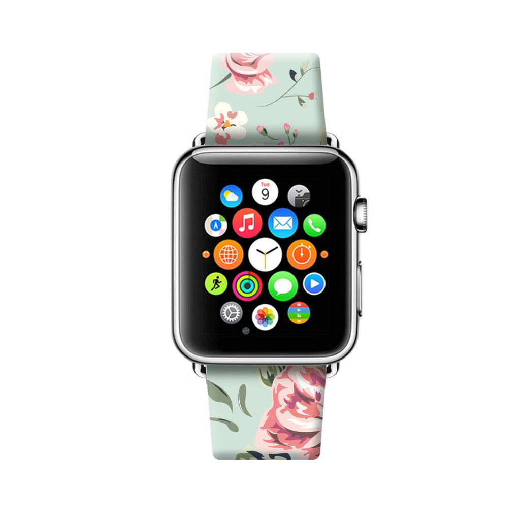 Cyan Vintage Rose Floral Apple Watch Strap Band 38 42 mm | Ultra-case.com