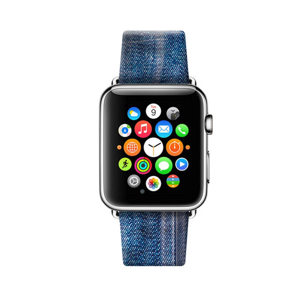 Custom Apple Watch Strap Faux Blue Jean pattern 38 mm 42 mm