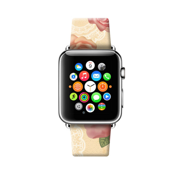 Custom Apple Watch Strap Vintage Floral Bird 38 mm 42 mm