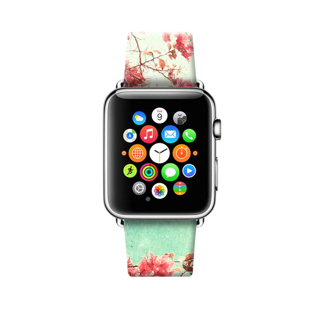 Sakuru Floral Pattern Apple Watch Strap Band 38 42 mm | Ultra-case.com