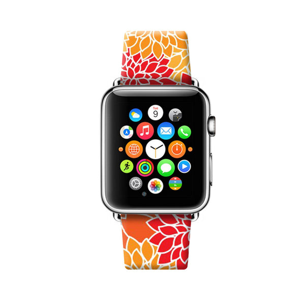Orange Floral Pattern Apple Watch Strap Band 38 42 mm | Ultra-case.com