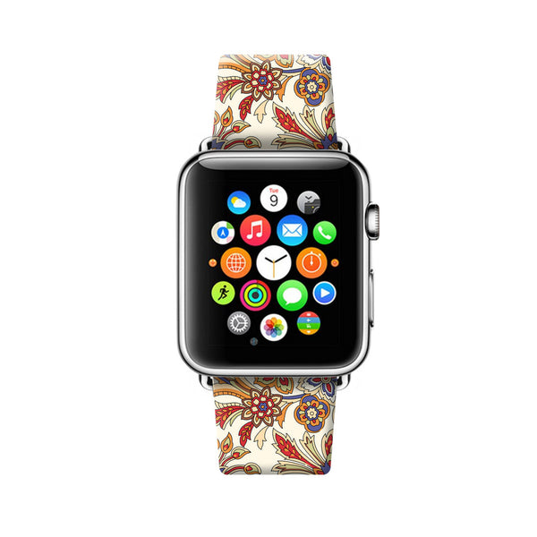 Art Floral White Pattern Apple Watch Strap Band 38mm / 40mm  , 42mm / 44mm | Ultra-case.com