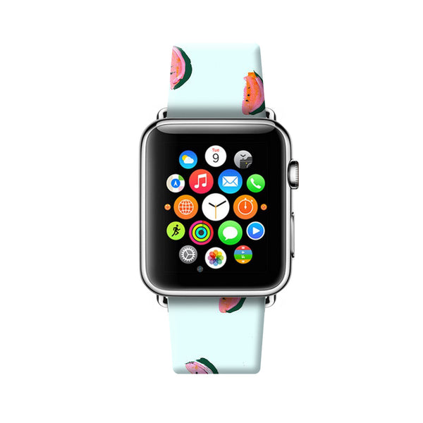 Custom Apple Watch Strap Watermelon light blue pattern  38mm / 40mm  , 42mm / 44mm