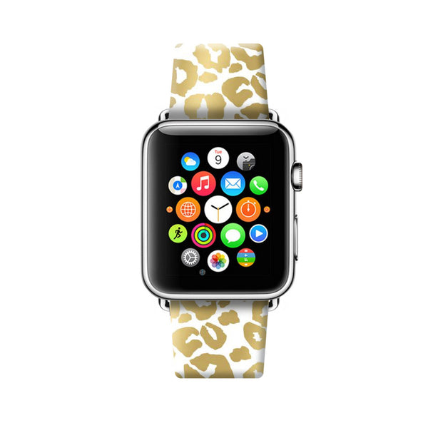 Custom Apple Watch Strap Leopard Golden Brown pattern  38mm / 40mm  , 42mm / 44mm
