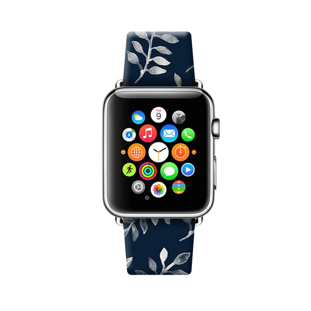 Custom Apple Watch Strap Leaves pattern Deep Blue  38mm / 40mm  , 42mm / 44mm