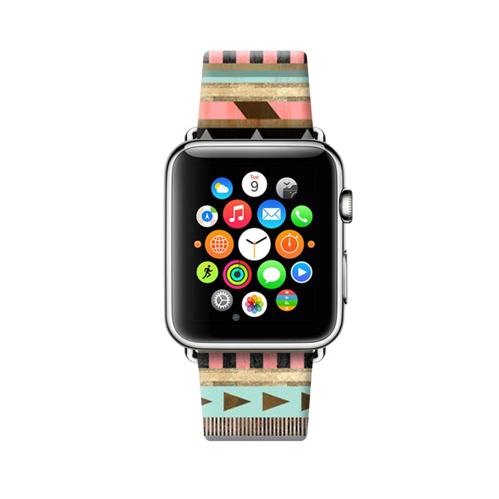 Custom Apple Watch Strap Colorful Navajo Tribal pattern  38mm / 40mm  , 42mm / 44mm