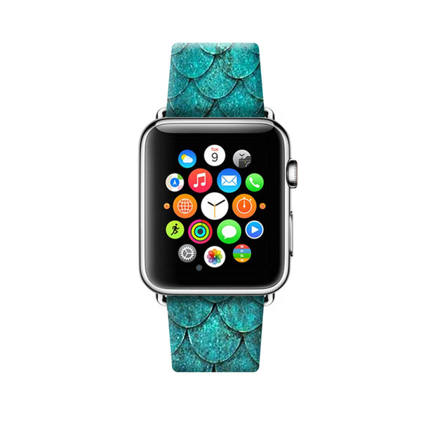 Custom Apple Watch Strap Turquoise Scales pattern  38mm / 40mm  , 42mm / 44mm