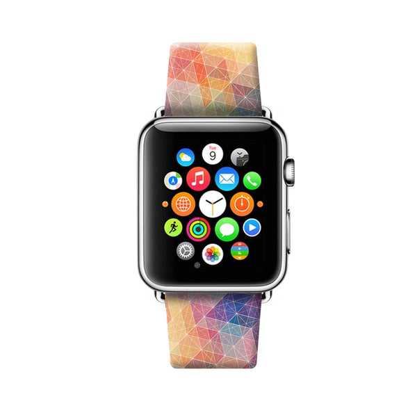 Custom Apple Watch Strap Colorful Dots and Lines Geometric pattern 38 mm 42 mm