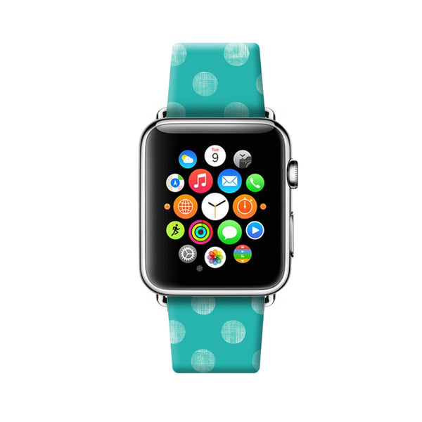 Custom Apple Watch Strap Turquoise Polka Dots pattern  38mm / 40mm  , 42mm / 44mm