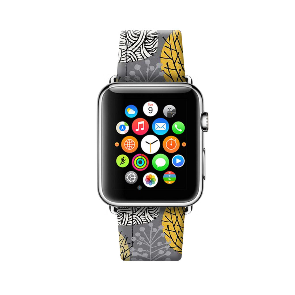 Custom Apple Watch Strap Charcoal Leaves pattern  38mm / 40mm  , 42mm / 44mm