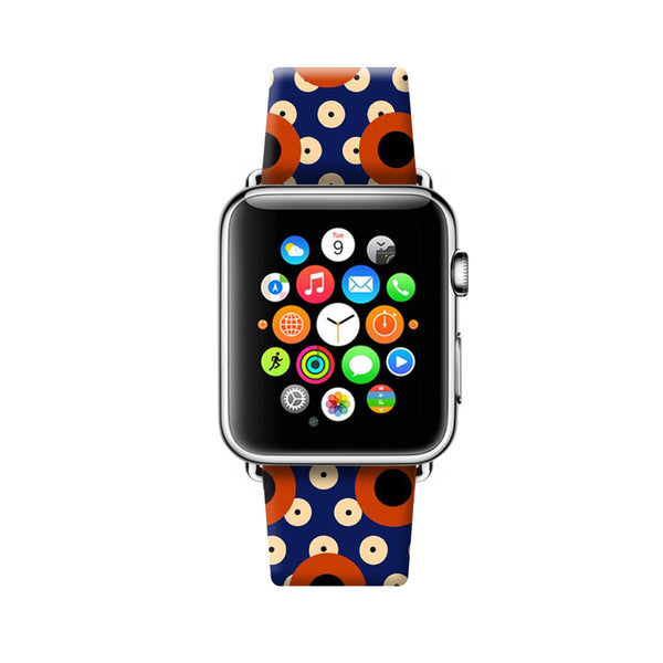 Custom Apple Watch Strap Art Circles pattern  38mm / 40mm  , 42mm / 44mm