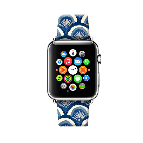 Custom Apple Watch Strap Art Japan Waves pattern  38mm / 40mm  , 42mm / 44mm