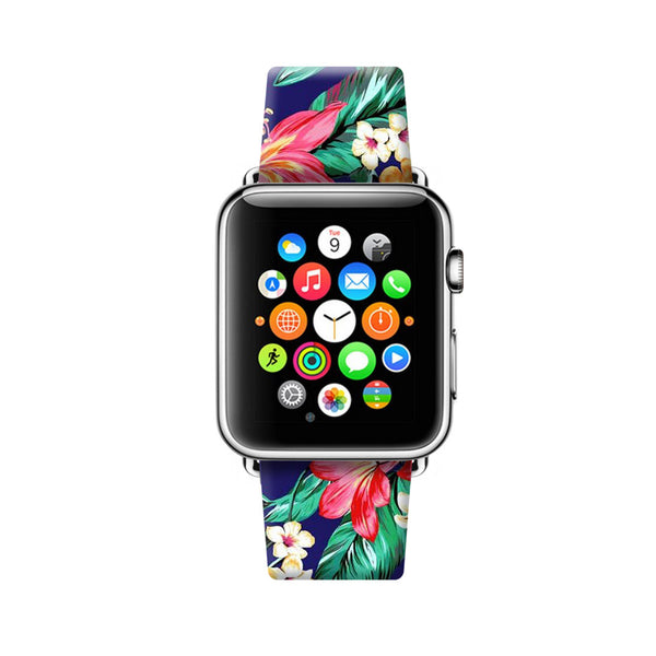 Custom Apple Watch Strap Hawaii Honolulu Flowers pattern  38mm / 40mm  , 42mm / 44mm