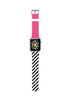 Custom Apple Watch Strap Pink with White black Chevron Pattern  38mm / 40mm  , 42mm / 44mm