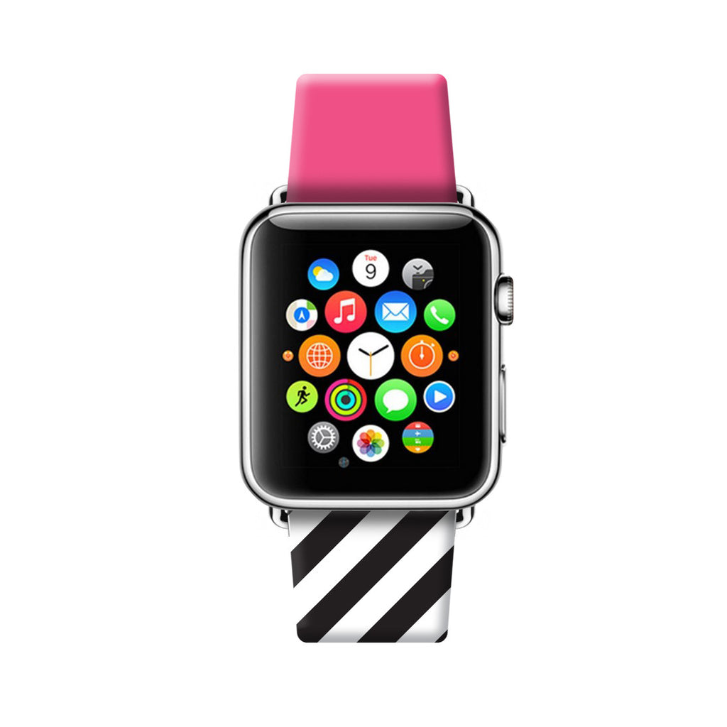 Custom Apple Watch Strap Pink with White black Chevron Pattern 38 mm 42 mm