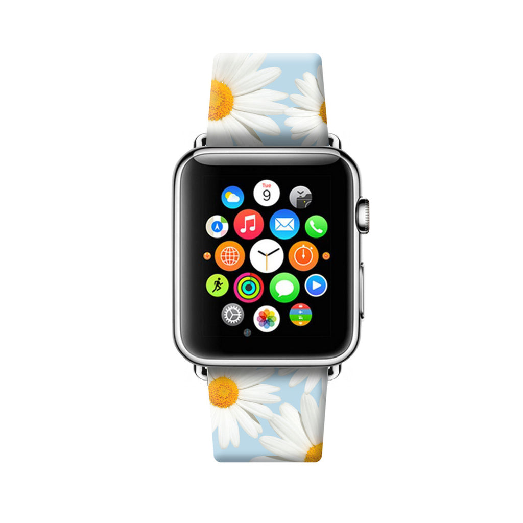 Chrysanthemum White Floral Pattern Apple Watch Strap Band 38mm / 40mm  , 42mm / 44mm | Ultra-case.com