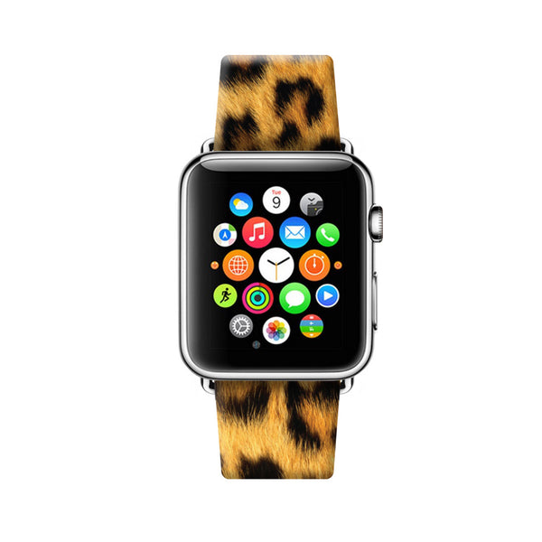 Custom Apple Watch Strap Leopard Yellow Brown pattern 38 mm 42 mm