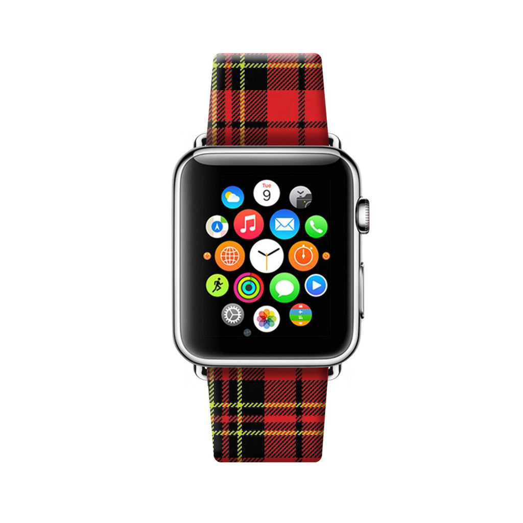Custom Apple Watch Strap Tartan Red Pattern  38mm / 40mm  , 42mm / 44mm