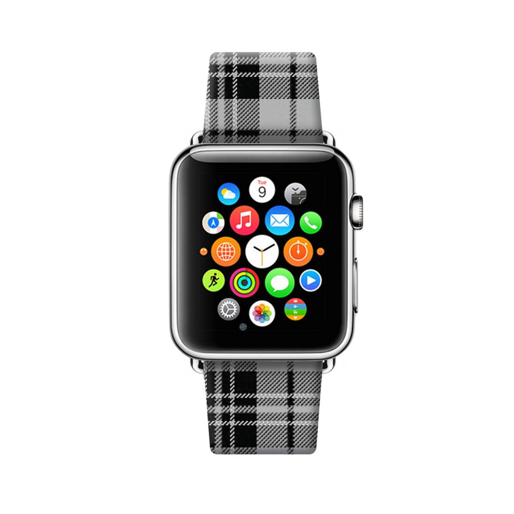 Custom Apple Watch Strap Tartan Black Pattern  38mm / 40mm  , 42mm / 44mm