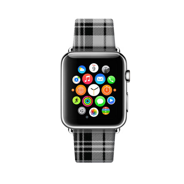 Custom Apple Watch Strap Tartan Black Pattern 38 mm 42 mm