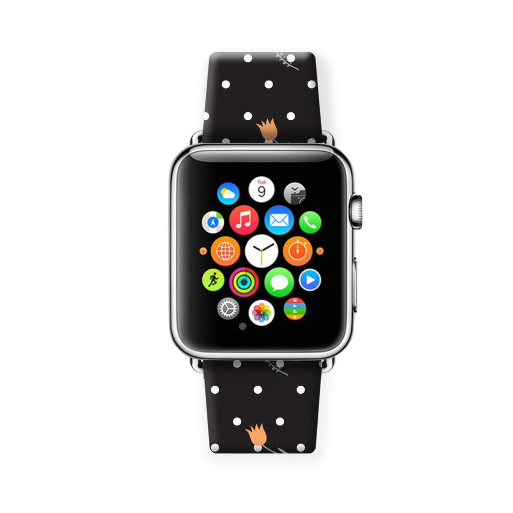 Custom Apple Watch Strap Polka Dots Black Flowers 38 mm 42 mm