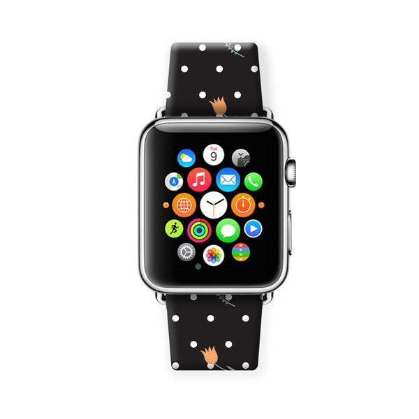 Custom Apple Watch Strap Polka Dots Black Flowers  38mm / 40mm  , 42mm / 44mm