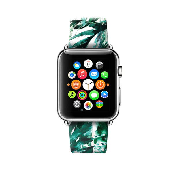 Custom Apple Watch Strap Green Leaf  38mm / 40mm  , 42mm / 44mm