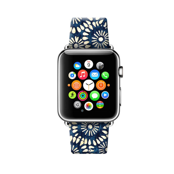 Custom Apple Watch Strap Blue Flowers Pattern  38mm / 40mm  , 42mm / 44mm