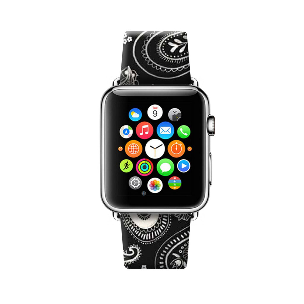 Custom Apple Watch Strap Paisley Black  38mm / 40mm  , 42mm / 44mm