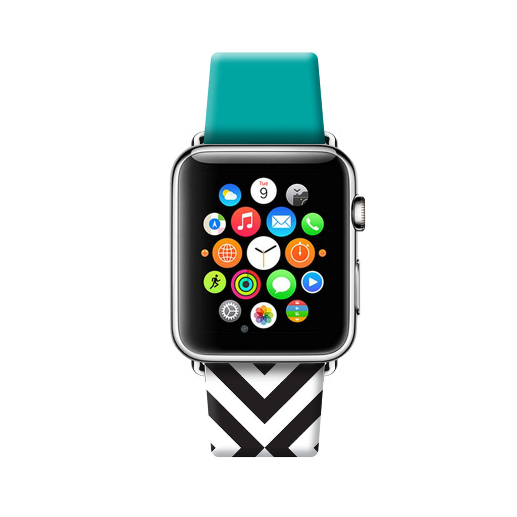 Custom Apple Watch Strap Cyan with Black White Chevron 38 mm 42 mm