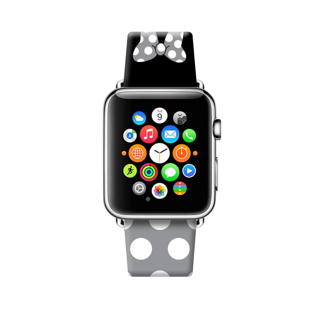 Custom Apple Watch Strap Gray Black Inspired by Minnie 38 mm 42 mm