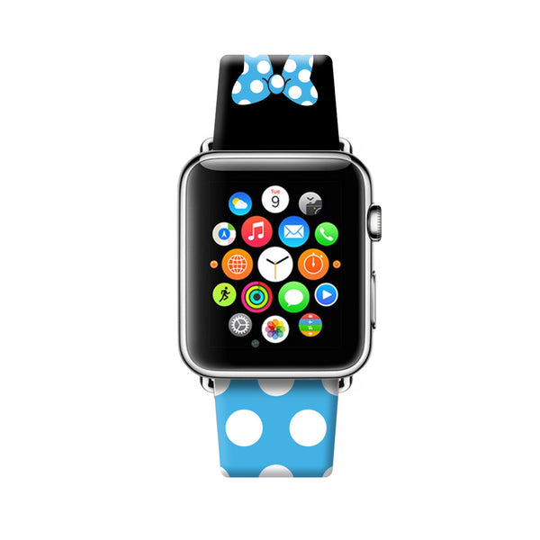 Custom Apple Watch Strap Blue Black Inspired by Minnie 38 mm 42 mm