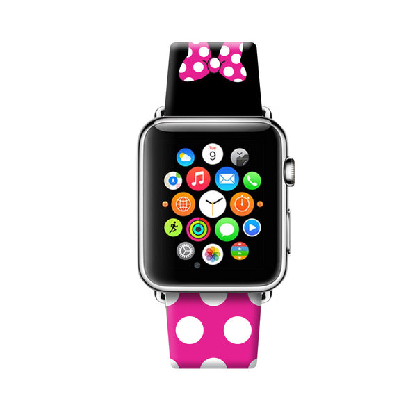 Custom Apple Watch Strap Pink Black Inspired by Minnie 38 mm 42 mm