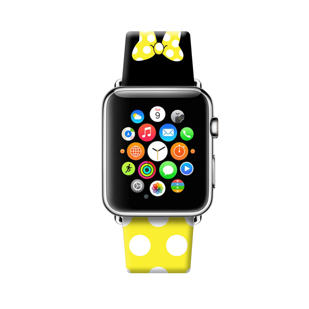 Custom Apple Watch Strap Yellow Black Inspired by Minnie  38mm / 40mm  , 42mm / 44mm