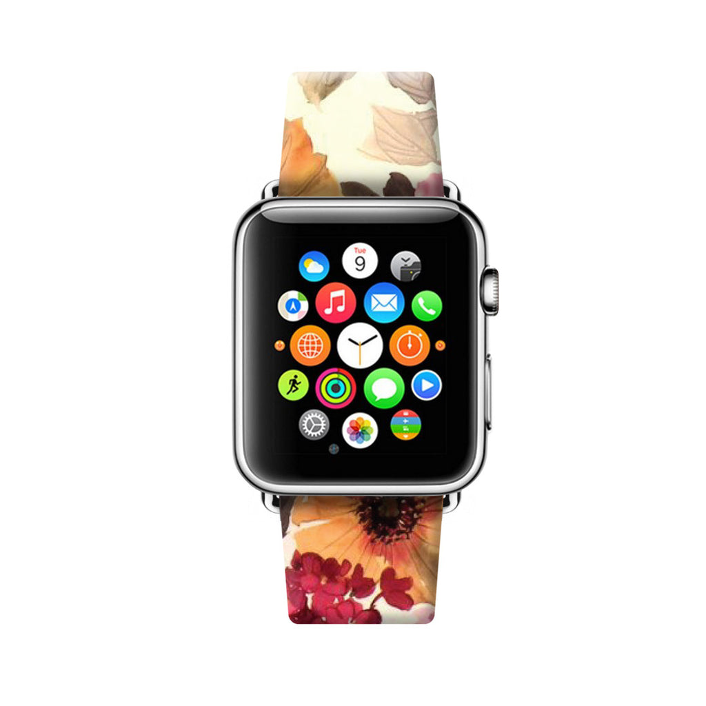 Custom Apple Watch Strap Colour Flowers  38mm / 40mm  , 42mm / 44mm