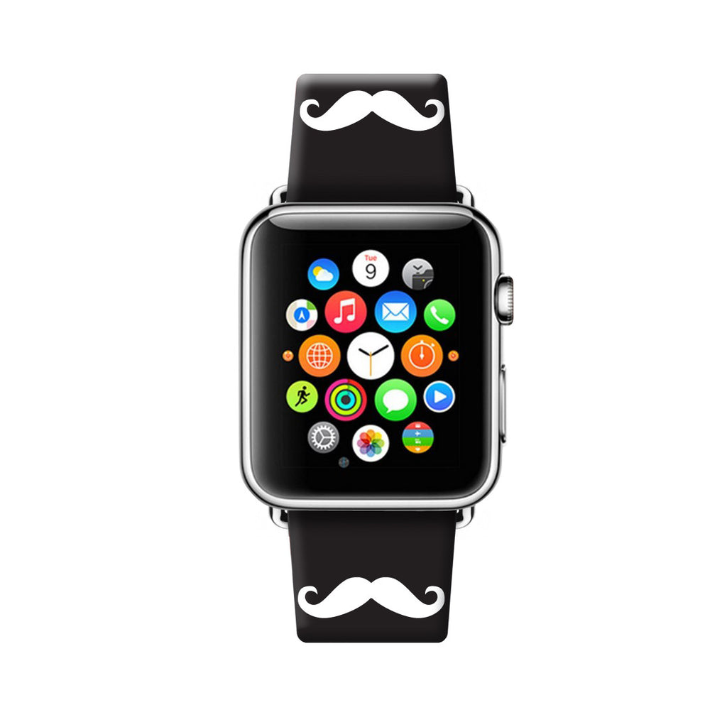 Custom Apple Watch Strap Mustache Black 38 mm 42 mm