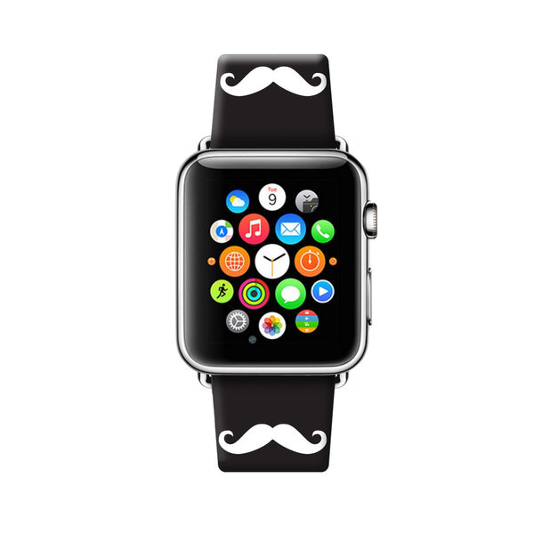 Custom Apple Watch Strap Mustache Black  38mm / 40mm  , 42mm / 44mm