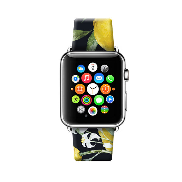 Custom Apple Watch Strap Lemon Tree Black  38mm / 40mm  , 42mm / 44mm