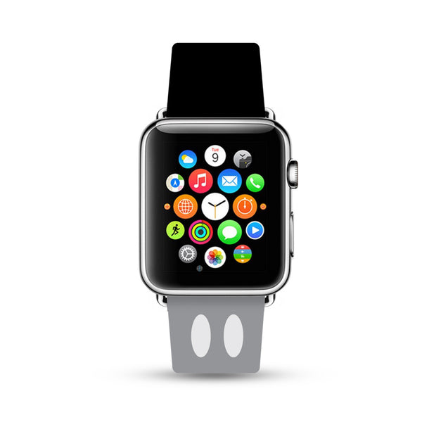 Custom Apple Watch Strap Gray Black Inspired by Mickey  38mm / 40mm  , 42mm / 44mm
