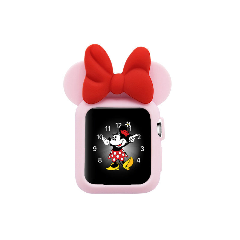 Apple Watch 38mm 42mm Cute Cartoon Mouse Ears Soft Silicone Protective Case - Minnie Mouse -Soft Pink with Red Ribbon